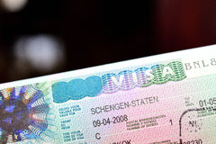 Schengen visa. You need  a visa to travel or business to Schengen Countries. Depending on your nationality Royalty Free Stock Photo