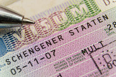 Schengen-Visum Stockbild