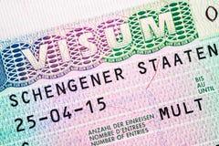 Schengen-Visum für die Mehrfachverbindungsstelle, welche die Grenze kreuzt Stockbild