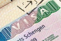 Schengen visum i passet royaltyfri fotografi