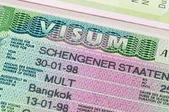 Schengen-Visum im Paß Lizenzfreie Stockbilder