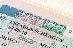 Schengen-Visum im Pass Stockbild