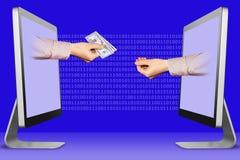 Schenk concept, twee handen van computers hand met contant geld geld en het pleiten van gebaar 3D Illustratie stock illustratie