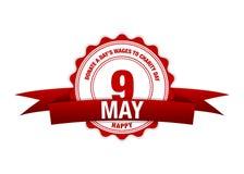Schenk Dag` s Lonen aan Liefdadigheidsdag 9 Mei-lintkalender Vectorrood royalty-vrije illustratie