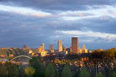 Schenley Park at Oakland neighborhood and downtown city skyline of Pittsburgh. Schenley Park at Oakland neighborhood and downtown city skyline,  Pittsburgh Royalty Free Stock Images