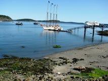 Schepen in Barhaven Maine de V.S. stock foto's