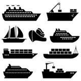 Schepen, boten, lading, logistiek en verschepende pictogrammen Royalty-vrije Stock Afbeeldingen