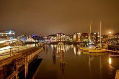 Schepen in de haven van Trondheim stock foto