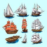 Schepen en botenschetsreeks stock illustratie