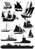 Schepen en saiboats Stock Foto