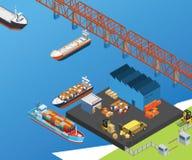 Schepen in het Overzees die over water reizen om het vervoerde goederen isometrische kunstwerk te leveren royalty-vrije illustratie