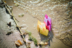 Schepen op het strand Stock Foto