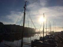 Schepen in Trondheim stock foto's