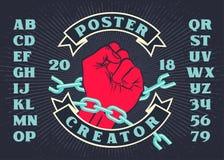 Schepper van de revolutie de uitstekende affiche met opgeheven hand royalty-vrije stock fotografie