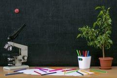 Scheren und Bleistifte auf dem Hintergrund des Kraftpapiers Zurück zu Schule-Konzept Stockbild