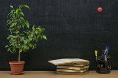 Scheren und Bleistifte auf dem Hintergrund des Kraftpapiers Zurück zu Schule-Konzept Lehrer- oder Studentenschreibtischtabelle Lizenzfreie Stockfotografie