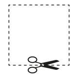 Scheren und dashed line Zeichenillustration Vektor Schwarze Ikone auf weißem Hintergrund Stockbild