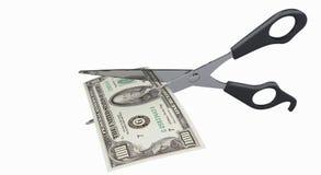 Scheren und der Dollar Stockfoto
