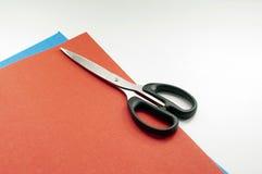 Scheren und Papier Stockbild