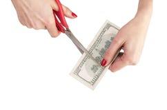 Scheren wird Dollar geschnitten stockfoto