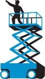 Scherenhebebühne-Arbeitskraft-Zeigen Retro- stock abbildung