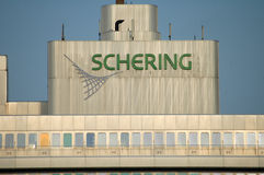 Schering. CIRCA MARCH 2006 - BERLIN: the logo of the Schering company on its headquarters in the Wedding disrict of Berlin Royalty Free Stock Image