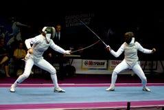 Schermende wereldkop 2010 Shanaeva versus Eriggo Arianna Stock Foto's
