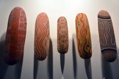 Schermi aborigeni esibiti al museo australiano del sud a Adelaide Fotografia Stock Libera da Diritti