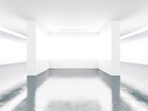Schermi bianchi nell'interno del museo 3d rendono Fotografia Stock Libera da Diritti