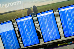 Schermi della visualizzazione delle informazioni di volo Fotografia Stock Libera da Diritti