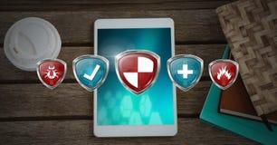 Schermi di protezione di sicurezza di antivirus sopra il dispositivo della compressa royalty illustrazione gratis