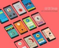 Schermi materiali di UI con il corredo dei modelli dello smartphon 3d royalty illustrazione gratis