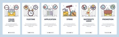 Schermi onboarding del app mobile Applicazione di lavoro, lettera di presentazione del cv, congedo di maternità, colpo, promozion royalty illustrazione gratis