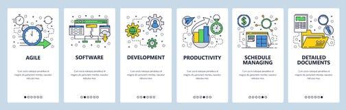 Schermi onboarding del sito Web Sviluppo di software e gestione del gruppo Modello dell'insegna di vettore del menu per il sito W illustrazione di stock