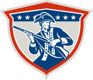 Schermo americano del fucile del moschetto della tenuta del patriota retro Fotografia Stock