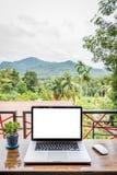 Schermo in bianco del computer portatile con il vaso della pianta fotografia stock libera da diritti