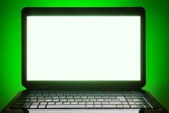 Schermo in bianco del computer portatile nero Fotografia Stock