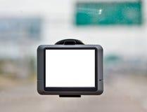 Schermo in bianco del navigatore di GPS in automobile fotografia stock libera da diritti