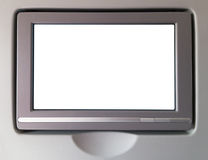 Schermo bianco dell'affissione a cristalli liquidi in un aeroplano immagini stock libere da diritti