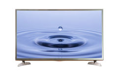 Schermo in bianco della TV con il percorso di ritaglio Immagine Stock