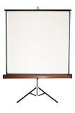 Schermo in bianco su un treppiede Fotografia Stock