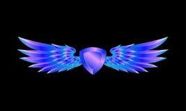 Schermo blu araldico con l'emblema delle ali su un fondo nero illustrazione di stock