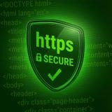schermo brillante 3D Assicuri il protocollo dei https Web della cassaforte dell'icona Serratura chiusa Codice del HTML sui preced Immagini Stock Libere da Diritti