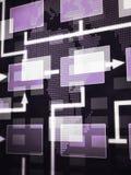 Schermo che mostra un diagramma astratto del diagramma di flusso di programmazione immagini stock