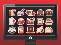 Schermo con icone le belle di affari Immagini Stock