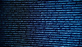 Schermo con il codice degli sviluppatori di software Fotografia Stock Libera da Diritti
