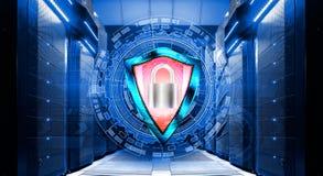 Schermo con il lucchetto su fondo degli ambiti di provenienza astratti nel centro dati fra i supercomputer di file Immagine Stock