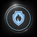 Schermo con il segno del fuoco - icona di protezione Immagini Stock Libere da Diritti