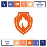 Schermo con il segno del fuoco - icona di protezione Immagini Stock