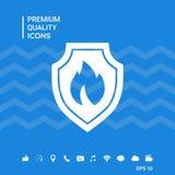 Schermo con il segno del fuoco - icona di protezione Fotografie Stock